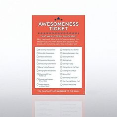 Awesomeness Office Ticket Note Pad