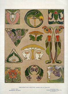 nice design for on linen pillow. Keramic Studio Magazine - a collection: 1919 - March - Caroline R. Art Nouveau Illustration, Magazine Illustration, Art Nouveau Pattern, Art Nouveau Design, Art And Craft Design, Arts And Crafts Movement, Art Inspo, Embroidery Patterns, Folk Art