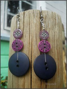 Recycled 1970's Button Dangle Earrings by Chocolat Negro Design