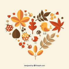 heart made of autumnal nature Autumn Illustration, Plant Illustration, Cute Illustration, Fall Wallpaper, Iphone Wallpaper, Free Font Design, Autumn Doodles, Karten Diy, Fall Clip Art