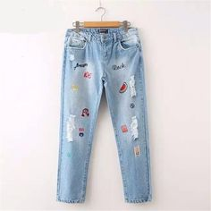 Women Letter Embroidery Denim Jeans Fashion Causal  Jeans Ripped Girl's Plus Size Pants For 4 Season