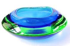 Vintage Murano Glass Bowl Blue Green Cased Glass