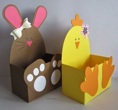 Animal Easter baskets- Animal Easter baskets chickens, bunnies and lamb The cutting files are from the Sil-Store: chick belly box bunny bell … Easter Arts And Crafts, Bunny Crafts, Spring Crafts, Holiday Crafts, Preschool Crafts, Diy Crafts For Kids, Diy Niños Manualidades, Box Bunny, Easter Baskets