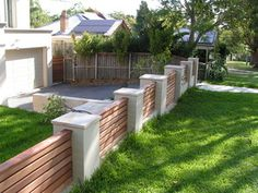 15 Top Amazing Contemporary Front Yard Fence Ideas For Your Home # Fashion Trend… - Zaun Ideen Patio Fence, Brick Fence, Fence Landscaping, Backyard Fences, Garden Fencing, Fenced In Yard, Cedar Fence, Concrete Fence, Pool Fence