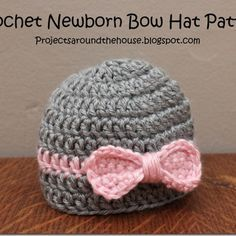 Projects Around the House: Crochet Newborn Bow Hat Pattern