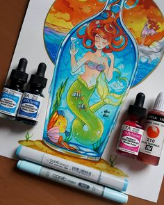 I'm considering prints on my drawings soon since you expressed interest ; //. //;! Hey guys ! You keep asking me what I use to draw so here's a small list of tools that make it easier for vibrant colors to come to life: Dr. Ph. Martin's watercolors - they are a bit pricey but worth the price. I am a fan of vibrant colors and I totally love them. The photo shows two colors I use for water: Turquoise Blue is my favourite! Moss Ross is nice for sunsets. Copic markers: they are fantastic for…