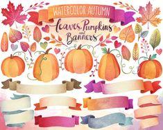Autumn Clipart  Watercolor Clipart Autumn by KennaSatoDesigns