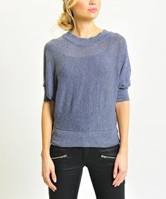 $16 Take a look at this Blue Dolman Sweater by VICE VERSA on #zulily today!