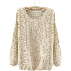 Beige Round Neck Broken Stripe Cable Sweater (33 CAD) found on Polyvore