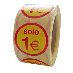"""Nuevo modelo de #EtiquetasAdhesivas para precios, """"Solo 1€"""" de 45 mm. de diametro -> https://www.pegatinasyetiquetas.com/etiquetas-para-precios/316-etiquetas-para-precios-solo-1-euro-4000031614951.html"""