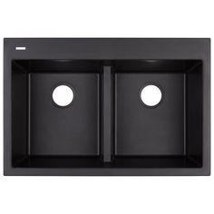 Algren Double-Bowl Drop-In Granite Composite Sink - Black - Kitchen Rustic Kitchen Cabinets, Diy Cabinets, Dish Organization, Granite Composite Sinks, Drop In Sink, Basin Design, Diy Countertops, Bowl Designs, Washing Dishes
