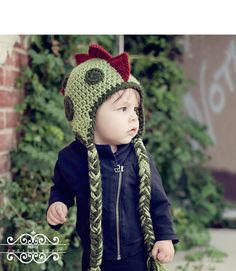 Baby boy hat - Baby girl hat - Crochet Dinosaur baby hat - Infant beanie with braids. $25.00, via Etsy.