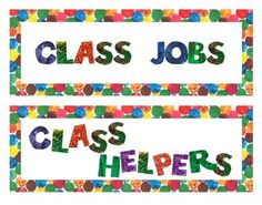 Eric Carle Classroom | Eric Carle Inspired Classroom Job Board Headers *Large Format*