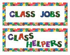Eric Carle Inspired Classroom Job Board Headers *Large Format* on teachers pay teachers Classroom Welcome Boards, Classroom Jobs Board, Elementary Classroom Themes, Classroom Decor Themes, New Classroom, Classroom Design, Kindergarten Classroom, Classroom Ideas, Elementary Art