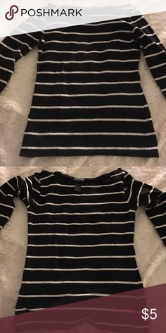 H&m black and white shirt Basic black and white stripe tee. Good condition H&M Tops Tees - Long Sleeve