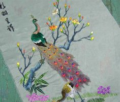 Peacock Silk on Silk Embroidery by perfectmomentpillows on Etsy