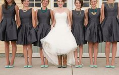 Bridesmaids in Alfred Sung dresses from Weddington Way and teal heels. Love the bride wearing cowboy boots - perfect rustic wedding attire! Love the dresses Bridesmaids And Groomsmen, Wedding Bridesmaids, Bridesmaid Dresses, Wedding Dresses, Wedding Wishes, Wedding Bells, Wedding Colors, Wedding Styles, Rustic Wedding Attire