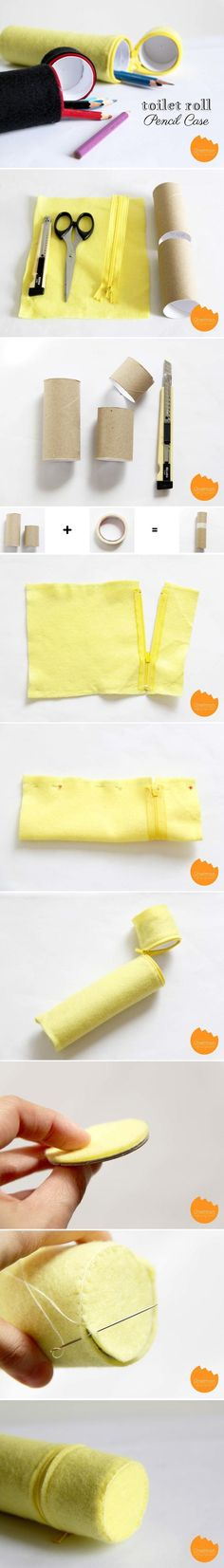 #Felt, #Craft, #Fieltro, #Manualidades DIY Felt Toilet Roll Pencil Case. Estuche hecho con fieltro y rollos de papel de WC