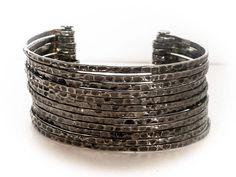 Vintage SilverTone Multi Strand Cuff bracelet    Fits Medium Wrist by GemstoneCowboy on Etsy