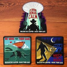 Safe Encounters Series - Patch Set One: 3 Patch Pack Cute Patches, Pin And Patches, Sew On Patches, Iron On Patches, National Park Patches, Loch Ness Monster, Alien Abduction, Mothman, Cryptozoology