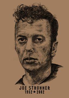 Joe Strummer: A3 -Print - Hand Drawn Portrait signed by Artist - (Black on Sepia Card or Sepia on Cartridge Paper) #PencilPortrait #Art #CommissionedArt #BillTaylorBeales #Portrait #JoeStrummer #HandDrawnPortrait #icons #Drawn #Hand