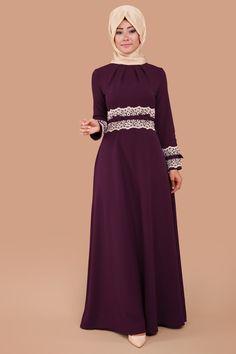 Dantel ve İnci Detay Elbise Mürdüm Ürün kodu: MSW8148 --> 94.90 TL