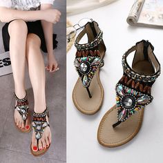Sale 13% (24.98$) - Women Summer New Bohemia Beads Slipper Flip Flops Flat Sandals Beach Thong Shoes