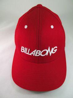 BillaBong Hat Cap Red Fitted Flexfit Skate Surf Trucker Embroidered One Size A20 #Bilabong