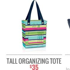 Thirty-One Tall Organizing Tote Thirty one tote with zip top closure in bright stripes.  Brand new.  Never used.  Is still in the bag it was shipped in. Thirty-One Bags Totes