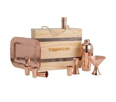 The ultimate party kit for the serious home entertainer packed tight with 6 hammered shot glasses, 1 rectangular tray, 1 bar shaker, 2 martini glasses and double jigger. Mix up cocktails and wow your guests with handcrafted finishing touches! Copper Pots, Copper Kitchen, Cocktail Gifts, Copper Decor, Party Kit, Shot Glasses, Happy Hour, Martini, Den