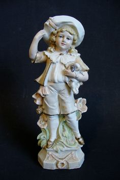 Bisque Porcelain Figurine Marked Unger & Carl Schneider #9796 *Girl with Puppy*