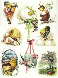 Ricepaper/Decoupage paper, Scrapbooking Sheets Vintage Easter Greetings