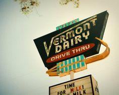 Vermont Dairy Drive Thru Vintage Los Angeles Neon Sign - Neon Arrow - READY TO SHIP - Retro Kitchen Decor - 11X14 Fine Art Photograph