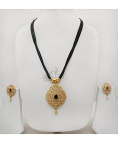 Black real Spinels Chain AD Pendant Set