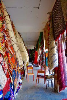 Rugs in the Souk // Casablanca, Morocco. Amazigh rug, Beni Ouarain Rug, Azilal Rug.