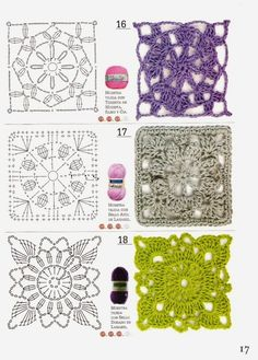 Patrones Crochet: 51 Patrones Cuadrados a Crochet. Revista