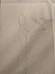 Hier is nog een ontwerp van mij voor mijn tekening. Het meisje houdt haar handen op en daarboven zweeft een bal met vleugels eraan, een halo erboven en een raar kriegeltje om te laten zien dat het zweeft.