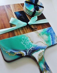 Resin cutting board and coasters