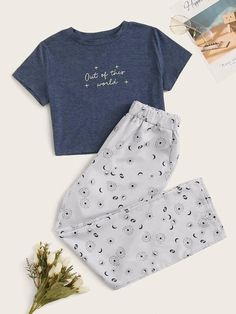 May 2020 - Graphic & Letter Print Pajama Set Cute Lazy Outfits, Teenage Outfits, Teen Fashion Outfits, Outfits For Teens, Stylish Outfits, Girl Outfits, School Outfits, Gothic Fashion, Cute Pajama Sets