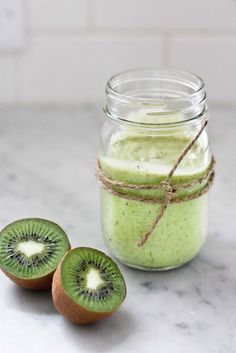 - - Kiwi Avocado Smootie - -  Makes one 10 oz glass - -    Blend liquids first, then fruit and ice. 1/2 avocado, 2 kiwi, 3T lime juice, 1/4 C Almond milk or fruit juice- just enough to get the blender going,  1-2T honey to taste, 3 ice cubes. Blend liquids first, then fruit and ice.