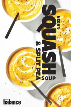 Traditional split pea soup gets a vegan and butternut squash update. Seafood Recipes, Vegetarian Recipes, Cooking Recipes, Squash Soup, Butternut Squash, Healthy Chicken Dinner, Vegan Curry, Spicy Chili, Sea Dragon