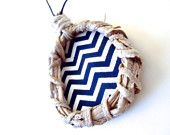 Sapphire Chevron Necklace. Blue Chevron Stripes Medallion. Eco Friendly. Natural Yagual Hoop.