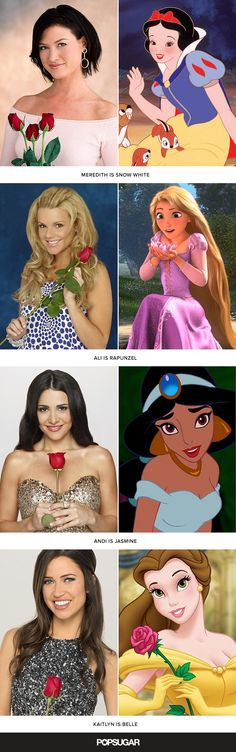 We've already figured out that Cinderella is basically The Bachelor, and since we had so much fun matching up the guys from this season of The Bachelorette with their Disney doppelgängers, we thought we'd see how the women matched up with the Disney princesses! We've paired all 11 stars of The Bachelorette with the Disney princess (or heroine) who best matches them in personality and looks.