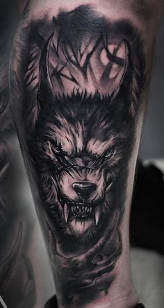 Khail Aitken Wolf Tattoos Men, Bull Tattoos, Eagle Tattoos, Dope Tattoos, Animal Tattoos, Leg Tattoos, Black Tattoos, Body Art Tattoos, Badass Sleeve Tattoos