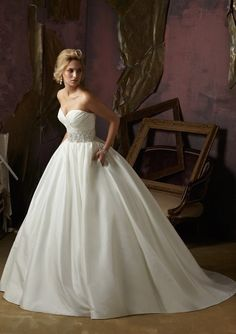 Strapless Taffeta & Satin Ballgown with Pleated Sweetheart Neckline & Crystal Beaded Waistband