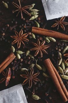 Free People - Homemade Masala Chai Concentrate 12 crushed cardamom pods 5 cinnamon sticks 8 black peppercorns 10 cloves 1 medium piece of fresh ginger, peeled and sliced 1 vanilla bean, sliced down the center 2.5 cups of water 2 star anise 1/2 tsp allspice 2 tbsp coconut sugar or honey (to taste) 1/4 tsp nutmeg 5 black tea bags Small saucepan Strainer Resealable glass jar