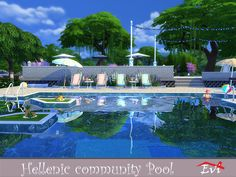 The design of this community pool has been influenced by the aegean sea, its colours and definitely the sun feeling. Let your sims enjoy it.  Found in TSR Category 'Sims 4 Community Lots'