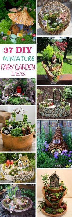 37 DIY Miniature Fairy Garden Ideas to Bring Magic Into Your Home Find out how to make a DIY miniature fairy garden and get ideas for this enchanting and fascinating garden trend, suitable for both kids and adults. Mini Fairy Garden, Fairy Garden Houses, Gnome Garden, Garden Art, Fairies Garden, Plants For Fairy Garden, Fairy Gardens For Kids, Diy Fairy House, Kid Garden