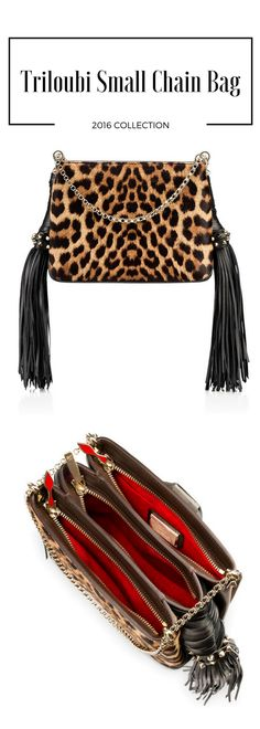 """Make your everyday ensembles three times as luxurious with """"Triloubi"""". This small handbag is divided into three roomy zip compartments that help you stay organised in iconic Louboutin style. The 'infinity' metal chain strap can double-up for shoulder wear, or be extended for cross-body, for a standout style."""