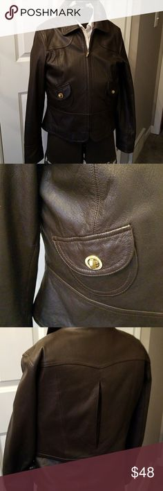 EUC Nine West Leather jacket. Super cute! This adorable dark brown leather coat is like NEW. Darling vented back and small front pockets with clasp closures!  Zip front. Cute floral lining! Nine West Jackets & Coats